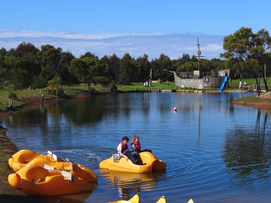 Fun things to do with the family at Mini Golf plus, Tiger Moth World, Torquay, Great Ocean Road. Paddle boats on the lake.