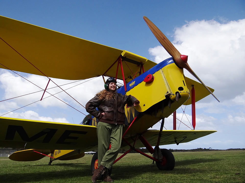Tiger Moth passenger ready for flight from Tiger Moth World in Torquay