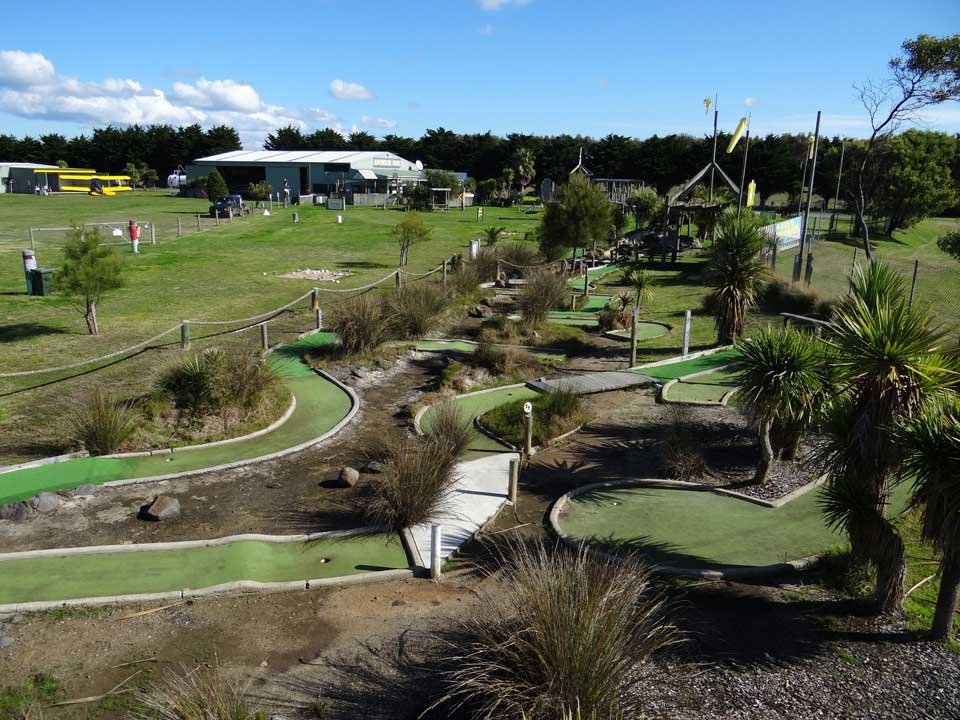 Mini Golf, Tiger Moth World adventure park Torquay, Fun things to do with the family in Torquay on the Great Ocean Road.