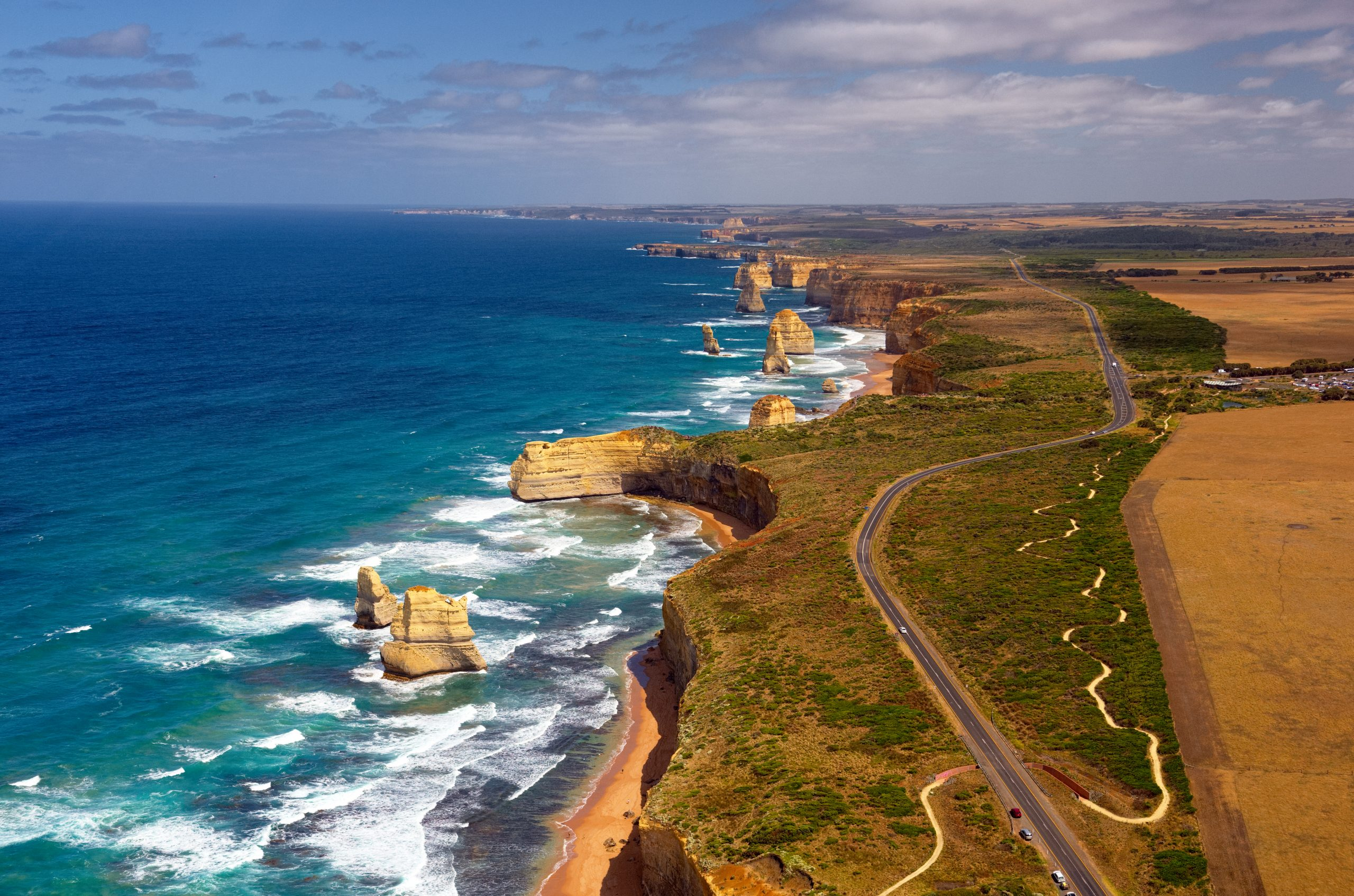 12 Apostles flight aerial image departing from Tiger Moth World, Torquay Airport, Torquay, Great Ocean Road near Melbourne